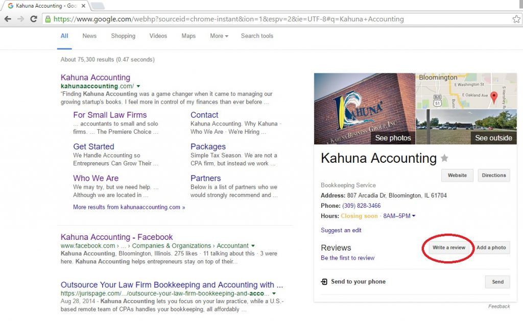 Google Review Screenshot Search Red Circle
